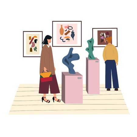Woman visiting contemporary art gallery. Young girl surrounded by creative abstract paintings, expositions, exhibits in museum. Everyday routine. Flat colorful vector illustration. Illusztráció