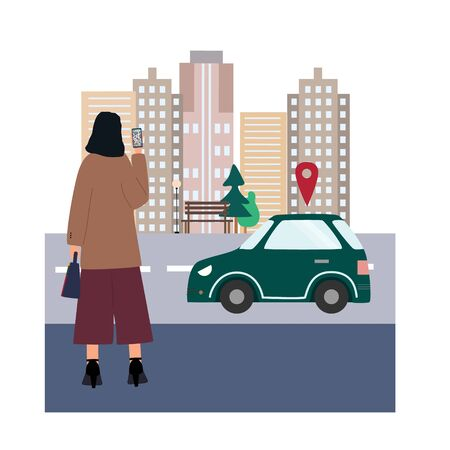 Woman  with smartphone ordered a car by online city car sharing service. Girl going to work. Mobile transportation concept. Everyday routine . Flat colorful vector illustration.