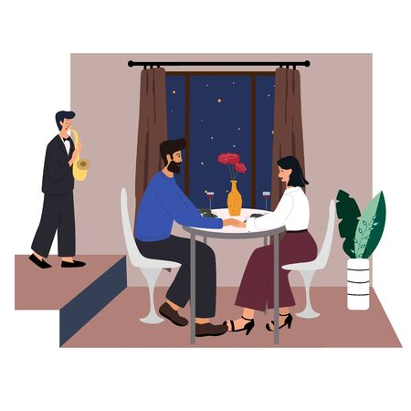 Cute couple sitting at table, drinking wine and talking. Man and woman at cafe on date. Romantic  couple conversation.  Saxophonist performing music in restaurant. Flat cartoon vector illustration.