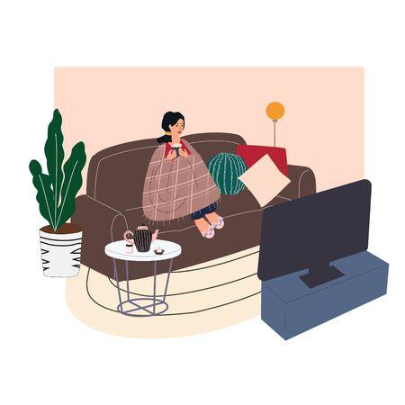Mujer sentada en un sofá acogedor. Niña envuelta en una manta y bebiendo café o té caliente, viendo películas y relajándose después del trabajo. Interior de moda en estilo escandinavo. Ilustración vectorial de dibujos animados.