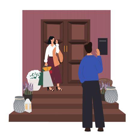 Linda pareja despidiéndose y saludando en casa de la mujer. El hombre y la mujer no quieren irse después de la cita. Despedida de pareja romántica. Rutina de todos los días. Ilustración de vector de dibujos animados plana.