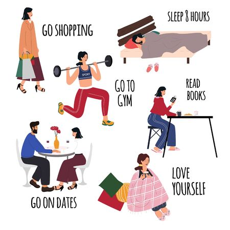 Love yourself vector set. Happy lifestyle poster. Motivation for women to take time for yourself: go shopping, go to gym, sleep 8 hours, read books, go on dates, healthcare. Cartoon flat vector illust