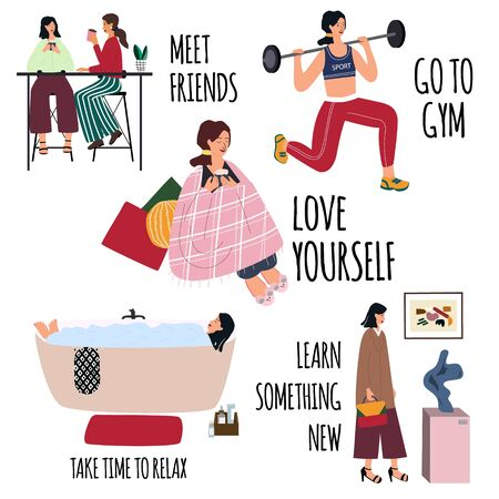 Love yourself vector set. Happy lifestyle poster. Motivation for women to take time for yourself: meet friends, go to gym, relax, learn something new, healthcare. Cartoon flat vector illustration.   イラスト・ベクター素材