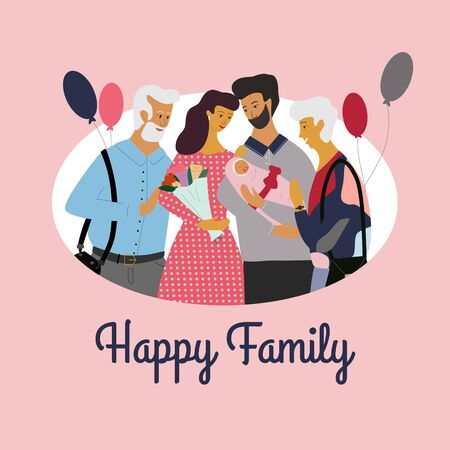 Cute family standing together, smiling and looking at newborn baby. Happy parenthood postcard, celebrating of new born child. Happy family text. Flat colorful vector illustration in cartoon style