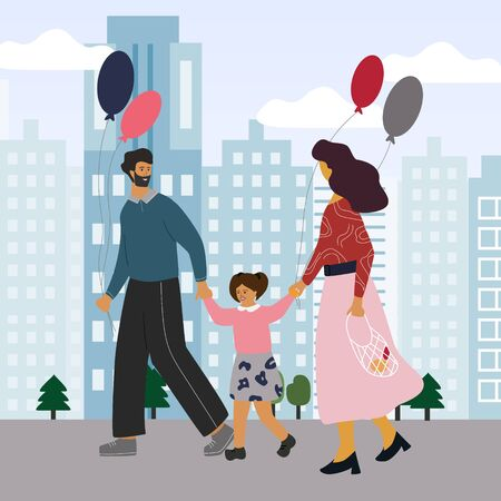 Happy family walking in the city or park. Mother and father holding them child's hands and balloons. Family concept. Flat colorful vector illustration in trendy cartoon style Ilustração