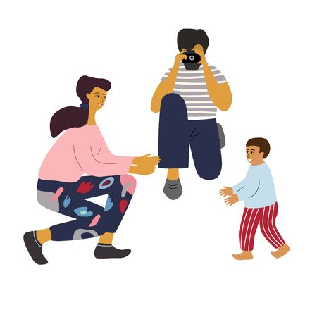 Baby makes first steps. Mother smiles and gives hands for child, father take a photo to save important moment. Happy family concept. Flat colorful vector illustration in trendy cartoon style Vector Illustration