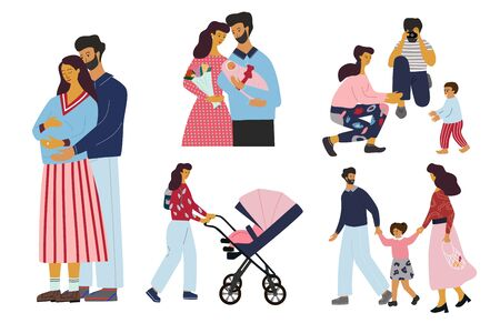 Set of family stages: pregnancy, childbirth , breastfeeding, first steps, walking with baby and kid. Happy family concept. Flat colorful vector illustration in cartoon style.