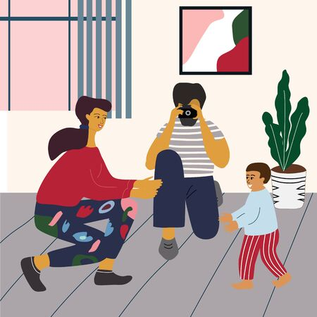 Baby makes first steps. Mother smiles and gives hands for child, father take a photo to save important moment. Happy family at home. Flat colorful vector illustration in trendy cartoon style