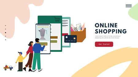 Online shopping concept for website banner, landing page template. Happy family using a retail app for buying goods from virtual store. Flat cartoon illustration shows a purchase process.
