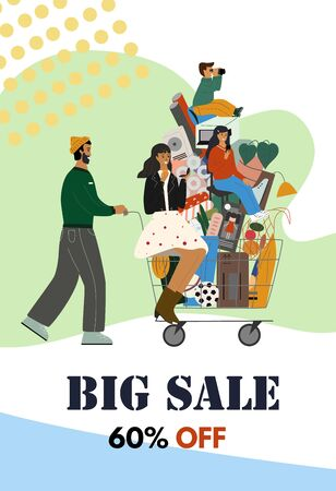 Concept poster or flyer for shop sales and discounts. Happy family are with shopping cart full of purchases. Cartoon characters. Colorful flat vector illustration.
