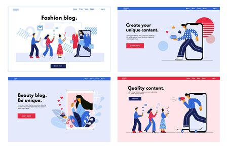 Set of web pages - Online social marketing influencer concept. Social media blogger promotion service for followers.  Flat vector illustration in trendy cartoon style. Ilustrace