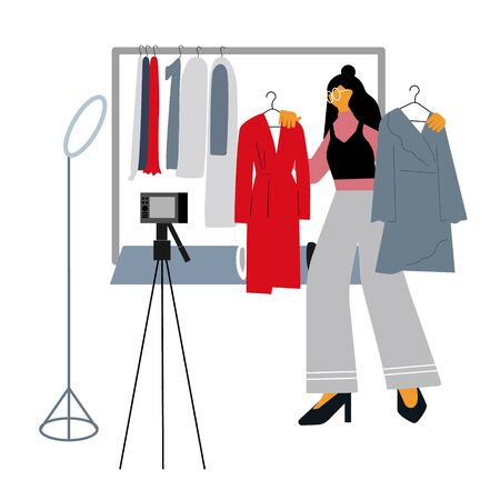 Fashion blogger giving advices how find own style and make right choice buying  clothes. Young girl sharing video with followers. Influencer concept. Flat vector illustration