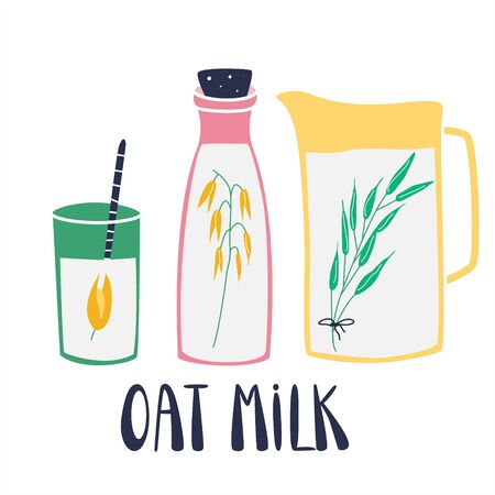 Oat. Set of glass, bottles filled of oat milk. Collection of hand drawn glass vessels with oraganic natural product. Concept for healthy, vegan food menu. Cute flat vector illustration