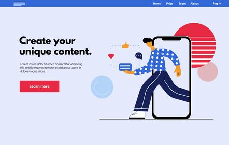 Online social marketing influencer concept - Web page. Young man goes from smartphone with promo massage for his followers.  Flat vector illustration in trendy cartoon style.