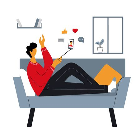 Blogger or man sitting on sofa at home and making stories for followers. Young guy sharing live online content in the internet. Internet addiction concept. Flat vector illustration.