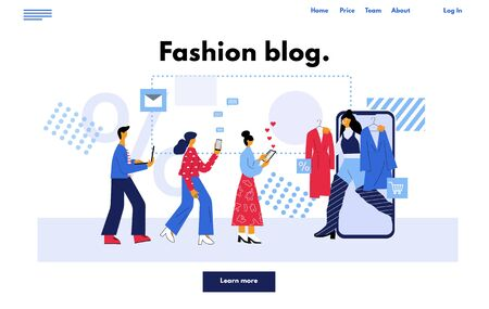 Web page online social media blogging and influencer concept. Fashion blogger promotion service for followers. Flat vector illustration in trendy cartoon style. Ilustrace