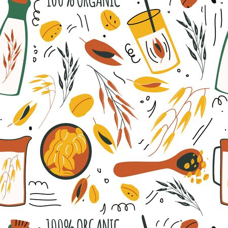 Hand drawn seamless pattern of oat grains, flakes, oat milk, bottles.  Healthy, organic daily nutrition . Cute doodle vector for print, card, poster, wrapping paper on white background.