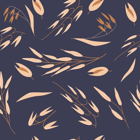 Hand drawn seamless pattern of oat grains and flakes.  Healthy, organic daily nutrition with oats. Cute cartoon vector for print, card, poster