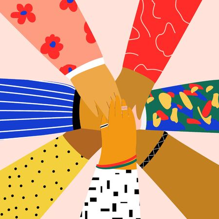 Group of people putting their hands together on each other. Friendship, partnership, teamwork, community, team building concept. Flat illustration in trendy cartoon style