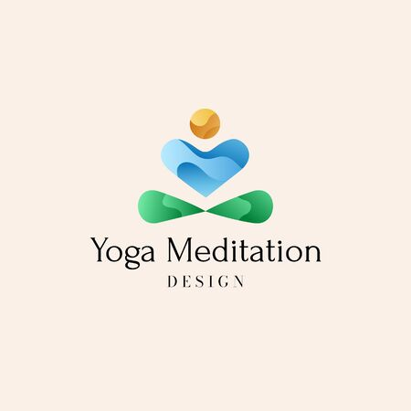 Yoga or meditation center concept logo. Vector illustration with abstract silhouette of man sitting with crossed legs, putting hands to pray and meditating. Sun, water, earth signs.