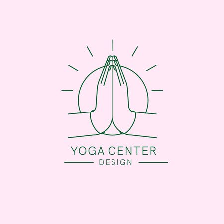 Yoga or meditation center concept logo. Vector illustration with  abstract silhouette of hands which  putted to pray and meditating. sunshine behind its