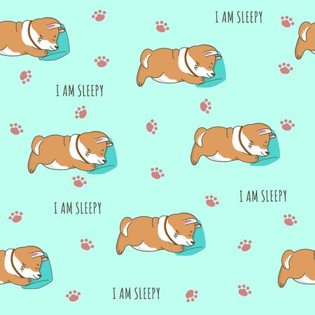 Seamless pattern with a little cute corgi dog is sleeping on a soft pillow. I am sleepy text. Vector cartoon illustration for print, postcard, wallpaper, textile