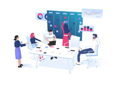 Agile methodology: SCRUM or Kanban for project management concept. Teamwork. Group of workers sitting around table and discussing near the task board with sticky notes.  Flat vector illustration.