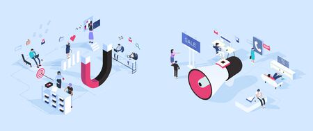Inbound vs outbound marketing concept vector illustration in isometric design. Magnet and megaphone attract customers by different ways. Isolated objects on background.