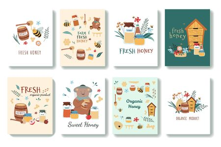 Set of cute postcards in cartoon style. There are bees, fresh honey, jars, hive, honey spoon, flowers, bear, honeycomb. Hand drawn vector illustration. Isolated on background. Vektorgrafik