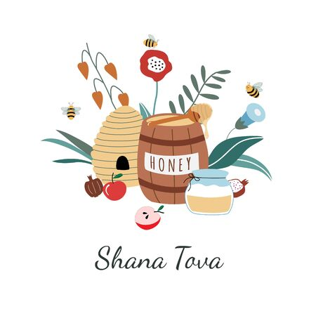 Rosh Hashanah greeting card. Jewish New Year Holiday postcards. Happy Shana Tova template for invitations. Cute cartoon vector illustration with honey, apples, flowers, beehive, barrel, pomegranate.