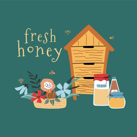 Template for fresh honey product. There are beehives, honey jars, flowers. Useful for design flyers, backgrounds, prints. Hand drawn vector illustration. Isolated on background.