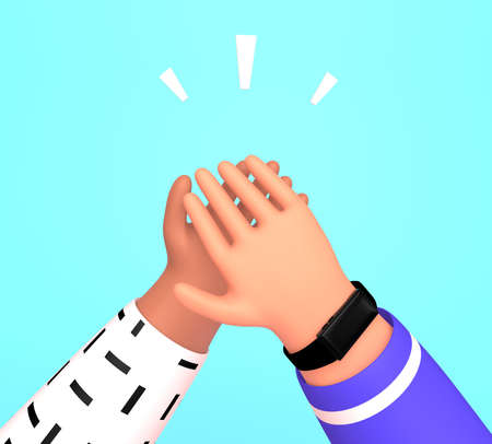 Two person giving five to each other. People celebrate or come to agreement how to achieve results in work. Hope to great deal. 3d render illustration in trendy cartoon