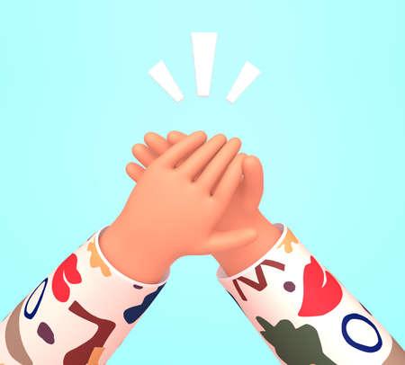 Human  hands clapping. Applause, ovation, celebrating, rapture. 3d render illustration in trendy cartoon style. 版權商用圖片