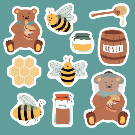 Set of cartoon stickers: bees, fresh honey, jars, honey spoon, bear, honeycomb. Useful for design of organic product, flyers, backgrounds. Hand drawn vector illustration. Isolated on background