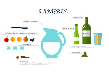 Sangria alcoholic drink recipe. Jug, bottle, cinnamon, fruits, ice, mint on a white background. Flat vector. Illustration Stock Illustratie
