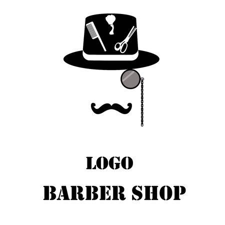 Cylinder, monocle, mustache and hairdresser tools on a white background. Logo barber shop. Illustration