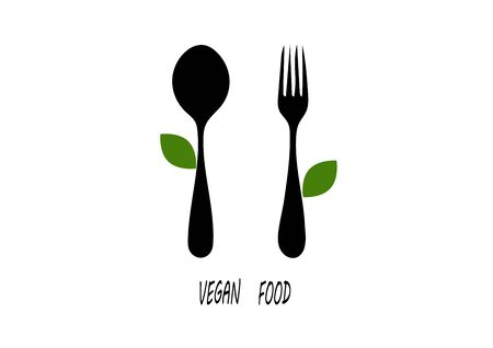 Black silhouettes of spoons and forks with a green leaf on a white background. Illustration