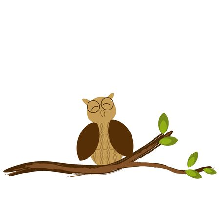 Cute cartoon character. Owl on a tree branch. Flat vector. Illustration Stockfoto - 130044513