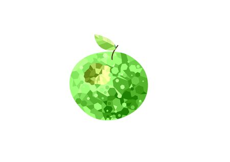Green bitten apple in low poly style. Illustration. vector