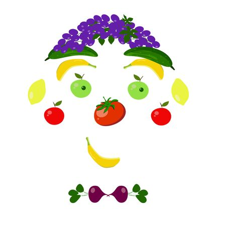 Funny portrait of fruits and vegetables on a white background. Characters face. Illustration. vector