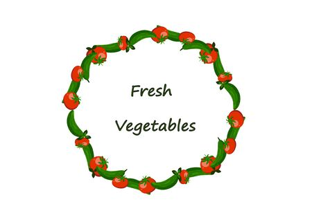 A wreath of cucumbers and tomatoes on a white background. Illustration. vector