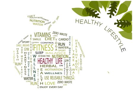 Words on the theme of a healthy lifestyle inscribed in an apple on a white background. Oak leaves. Illustration. vector