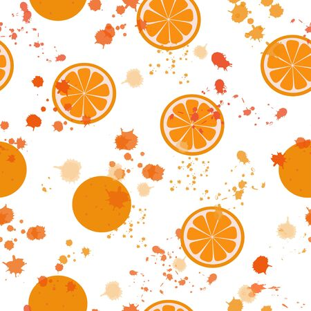 Seamless pattern: isolated oranges, orange slices and orange blots on a white background. Flat vector. Illustration. Can be used as a print on fabric.