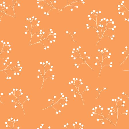Seamless pattern: white berries on a peach background. Flower drawing. Illustration