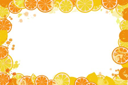 Isolated citruses lemons and oranges in the form of a frame on a white background. Flat vector. Illustration. Can be used as a poster. Фото со стока - 130044656