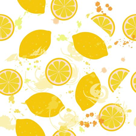 Seamless pattern of isolated lemons and lemon slices with watercolor blots on a white background. Illustration. Vector Фото со стока - 130044664