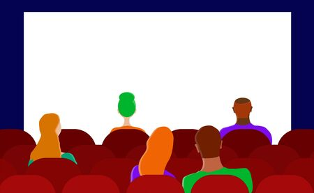 People in the cinema. Loving couple on the last row. free space. Flat vector. Illustration Illusztráció