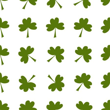 Seamless pattern: isolated green clover on a white background. Flat vector. Illustration.