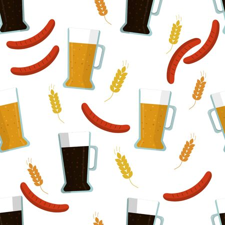Seamless pattern: isolated light and close beer, rye and malt, barbecue on a white background. Flat vector. Illustration