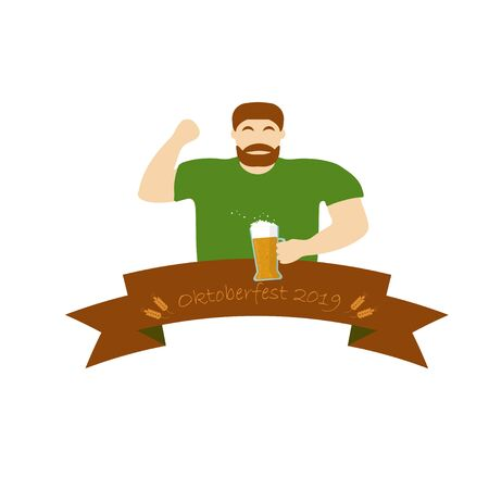 A man in a green T-shirt is holding a beer. Oktoberfest ribbon. Vector flat style illustration.